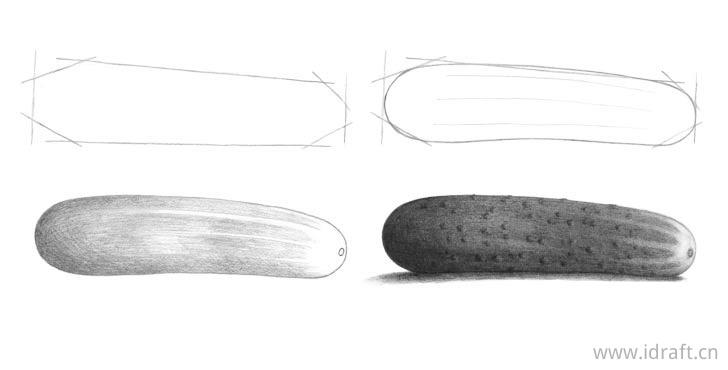 黄瓜的铅笔画法步骤