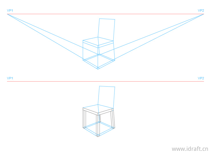 椅子腿透视图