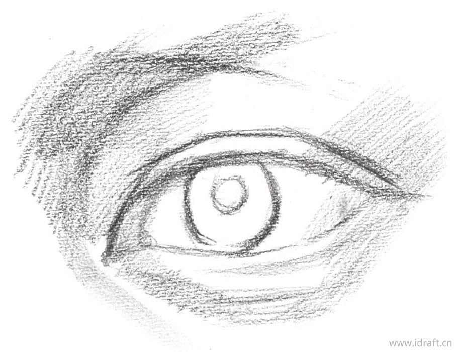 内眼角暗部的整体排线