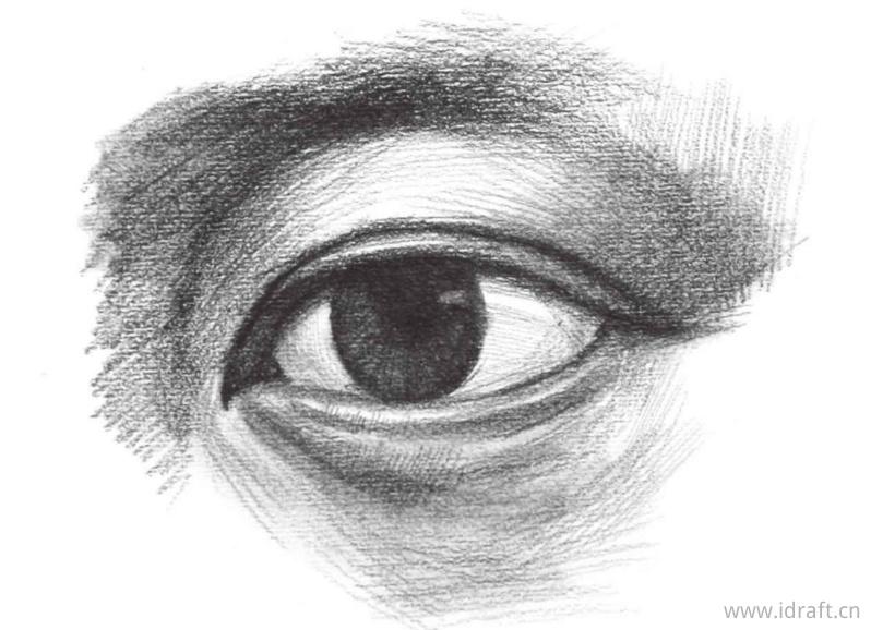 完善眼睛整体色调的绘制及黑、白、灰色调的对比