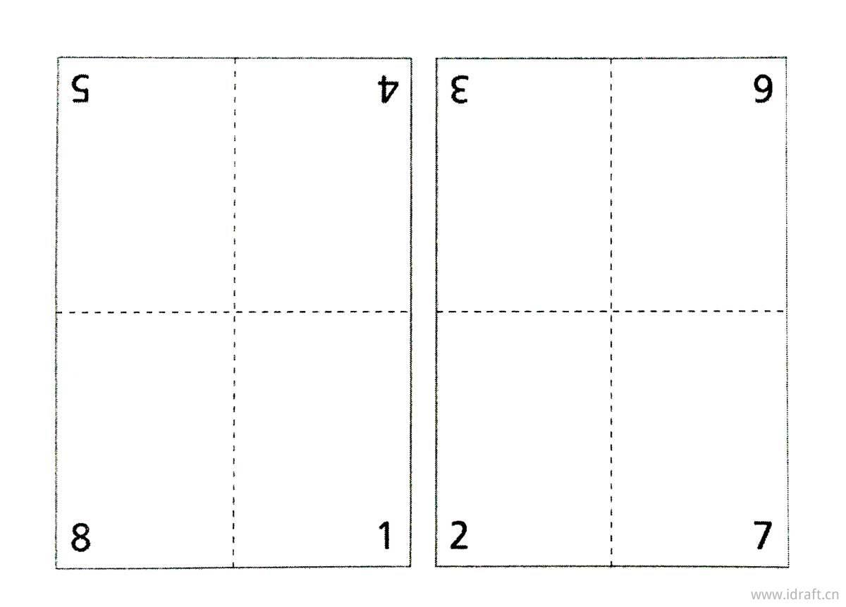 展开的8页书贴,可以看出其页码编排。