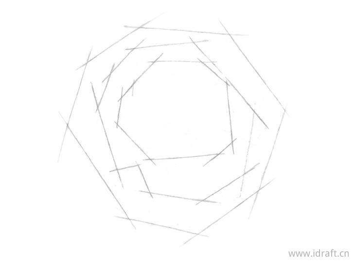 玫瑰基本形状素描
